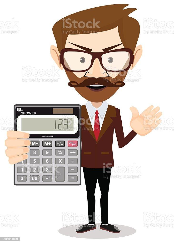 Businessman or Accountant with a Calculator, Vector Illustration vector art illustration