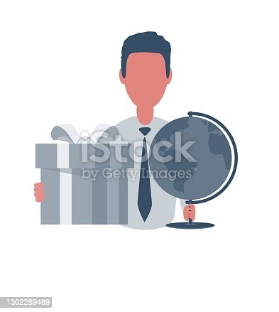 istock Businessman or clerk holding a globe and a gift box. Male character in simple style with objects, flat vector illustration. Business concept 1302289489