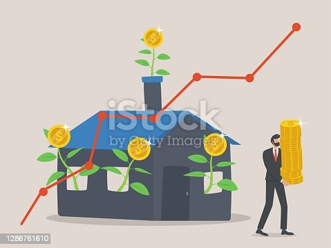 istock Businessman or investment fund invests in real estate, Rental income, house loan, mortgage debt, profit growth bisnieal estate, property business owners reap big profits. 1286761610
