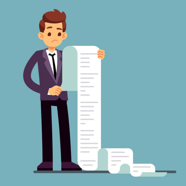 Businessman or male lawyer reading long paper list. Business questionnaire and document report vector concept Businessman or male lawyer reading long paper list. Business questionnaire and document report vector concept. Paper list document, cartoon worker unhappy illustration long stock illustrations