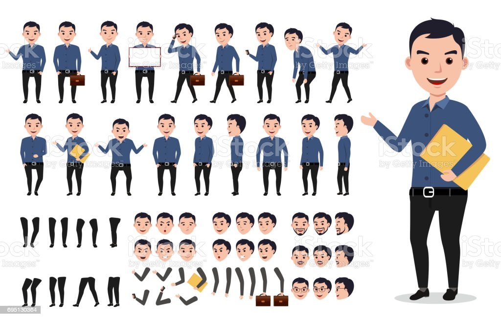 Businessman or male vector character creation set. Professional man vector art illustration