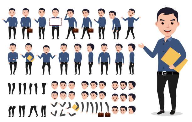 ilustrações, clipart, desenhos animados e ícones de empresário ou criação de personagem masculino vetor definido. homem profissional - landscape creation kit