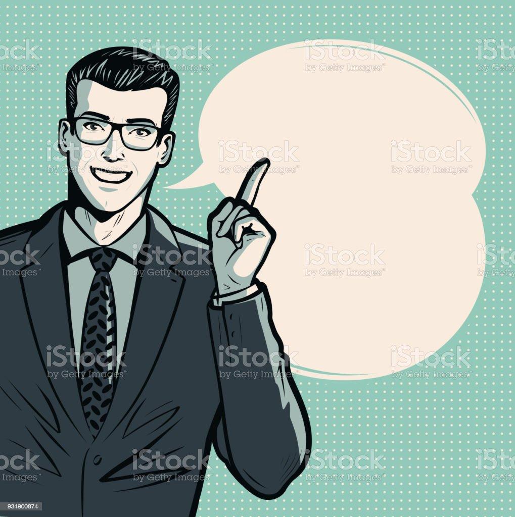 Empresário ou homem de terno. Conceito de negócio. Arte pop retrô estilo cômico. Ilustração em vetor dos desenhos animados - ilustração de arte em vetor