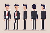 Businessman or manager from different sides. Front, rear, side view of male person. Flat vector illustration in cartoon style