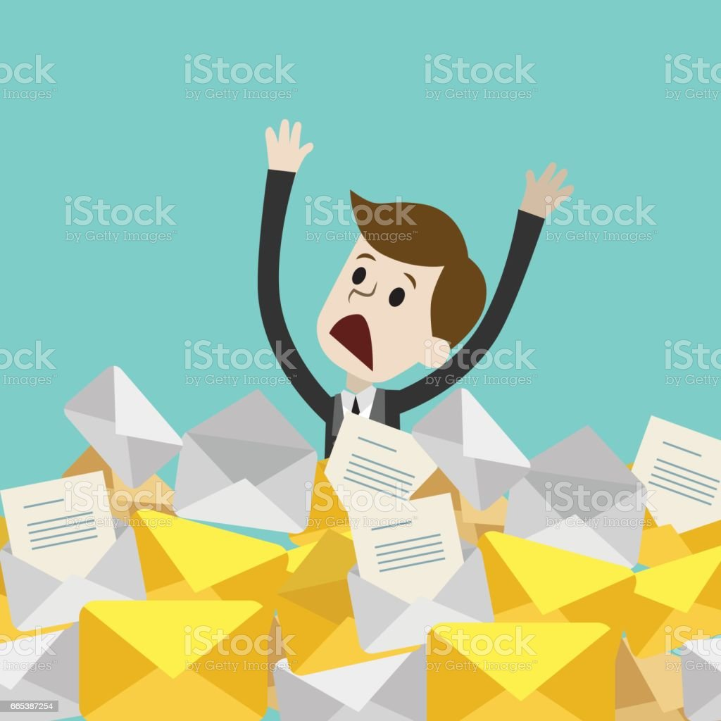 Businessman or manager has a lot of emails vector art illustration