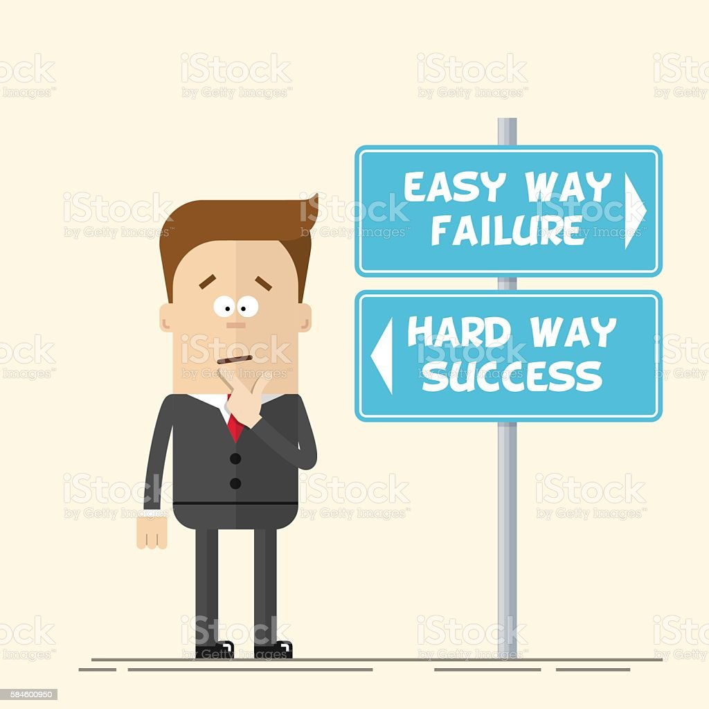 Businessman or manager has to choose the direction. Quick and vector art illustration