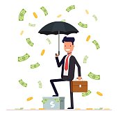 Businessman or manager hold umbrella and standing under money rain. Office worker character isolated on white background. Vector, illustration EPS10
