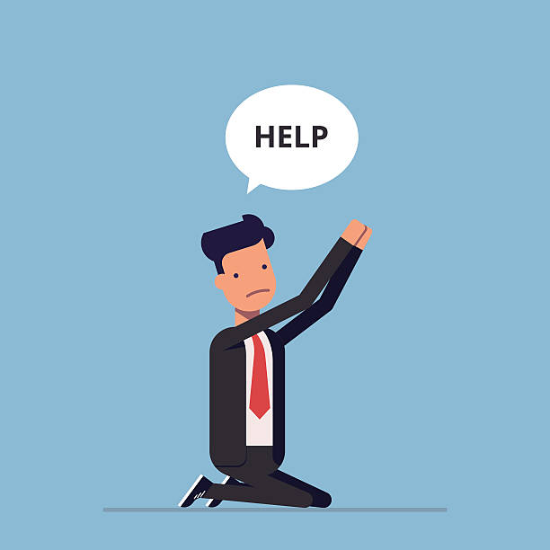 businessman or manager is on his knees and ask for - 애원하기 stock illustrations