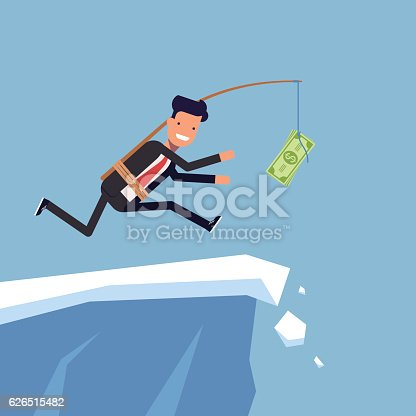 Businessman or manager is running after money to a steep cliff. Inattentive man in business suit goes the edge of the mountain. Vector, illustration EPS10