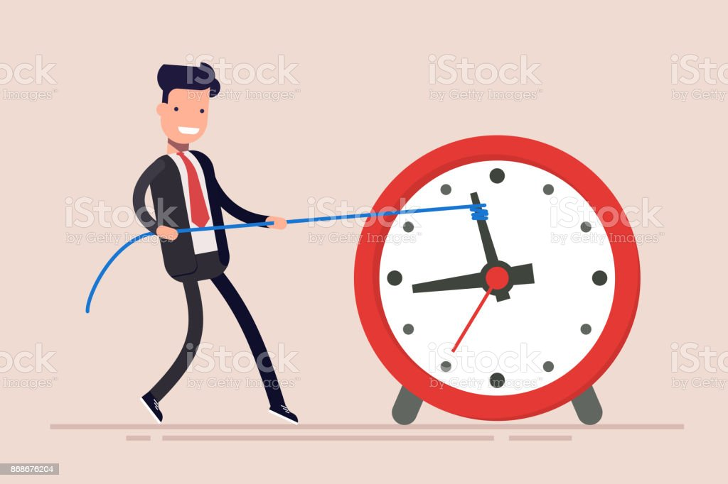 Businessman or manager is wasting time. Man is trying to get time back. The businessman failed to fulfill the task in time. vector art illustration