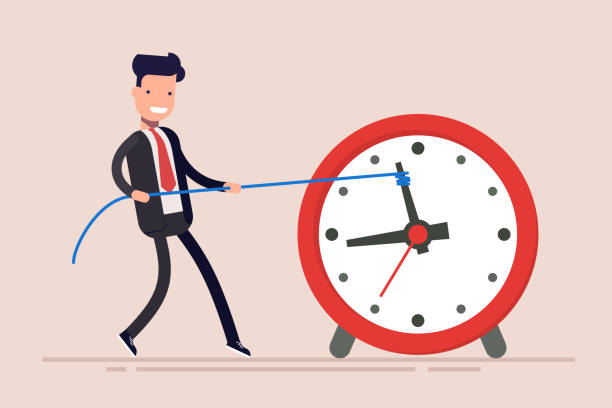 Businessman or manager is wasting time. Man is trying to get time back. The businessman failed to fulfill the task in time. Businessman or manager is wasting time. Man is trying to get time back. The businessman failed to fulfill the task in time slow motion stock illustrations