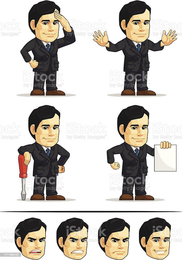 Businessman or Office Executive Customizable Mascot 9 royalty-free stock vector art