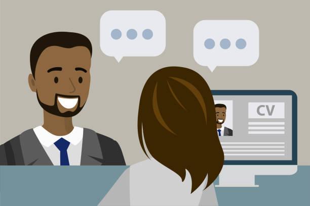 ilustrações de stock, clip art, desenhos animados e ícones de businessman or office worker having a job interview in the office, - job interview
