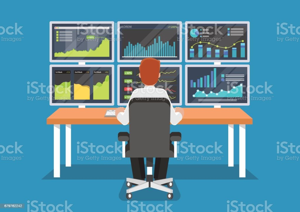 Businessman or stock market trader working at desk. - ilustración de arte vectorial