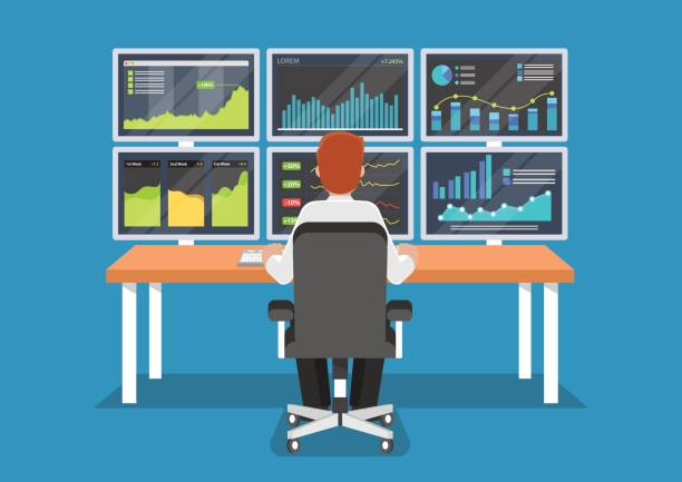 Businessman or stock market trader working at desk. Businessman or stock market trader working at desk with six monitor showing data. watching stock illustrations