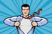 Businessman or superhero. Vector illustration in style pop art