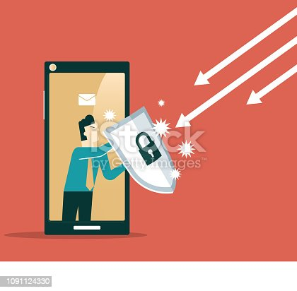 Businessman out from a smart phone with a shield - Business concept vector