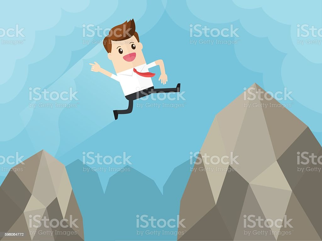 businessman overcome fears jump over gap of big mountain royalty-free businessman overcome fears jump over gap of big mountain stock vector art & more images of above