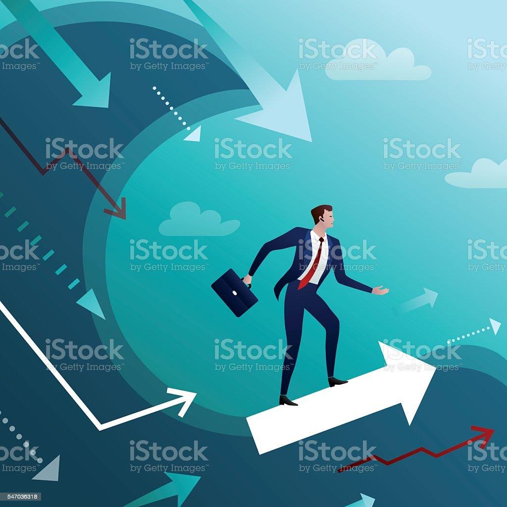Businessman overcomes crisis waves векторная иллюстрация