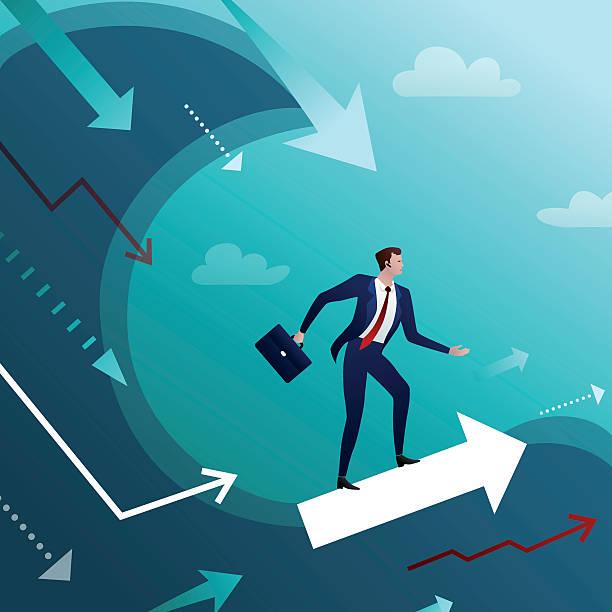Bекторная иллюстрация Businessman overcomes crisis waves