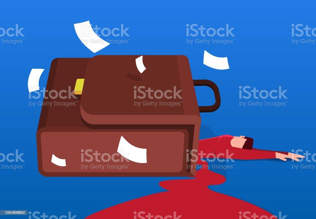 Businessman overwhelmed by a huge briefcase vector art illustration