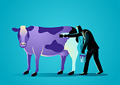 Business concept illustration of a businessman painting a cow with puple paint, marketing concept that states that companies must build things worth noticing right into their products or services