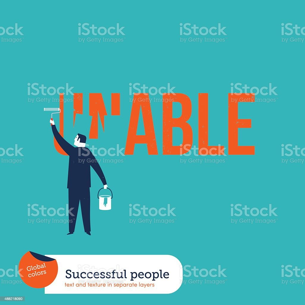 Businessman painting the word unable vector art illustration
