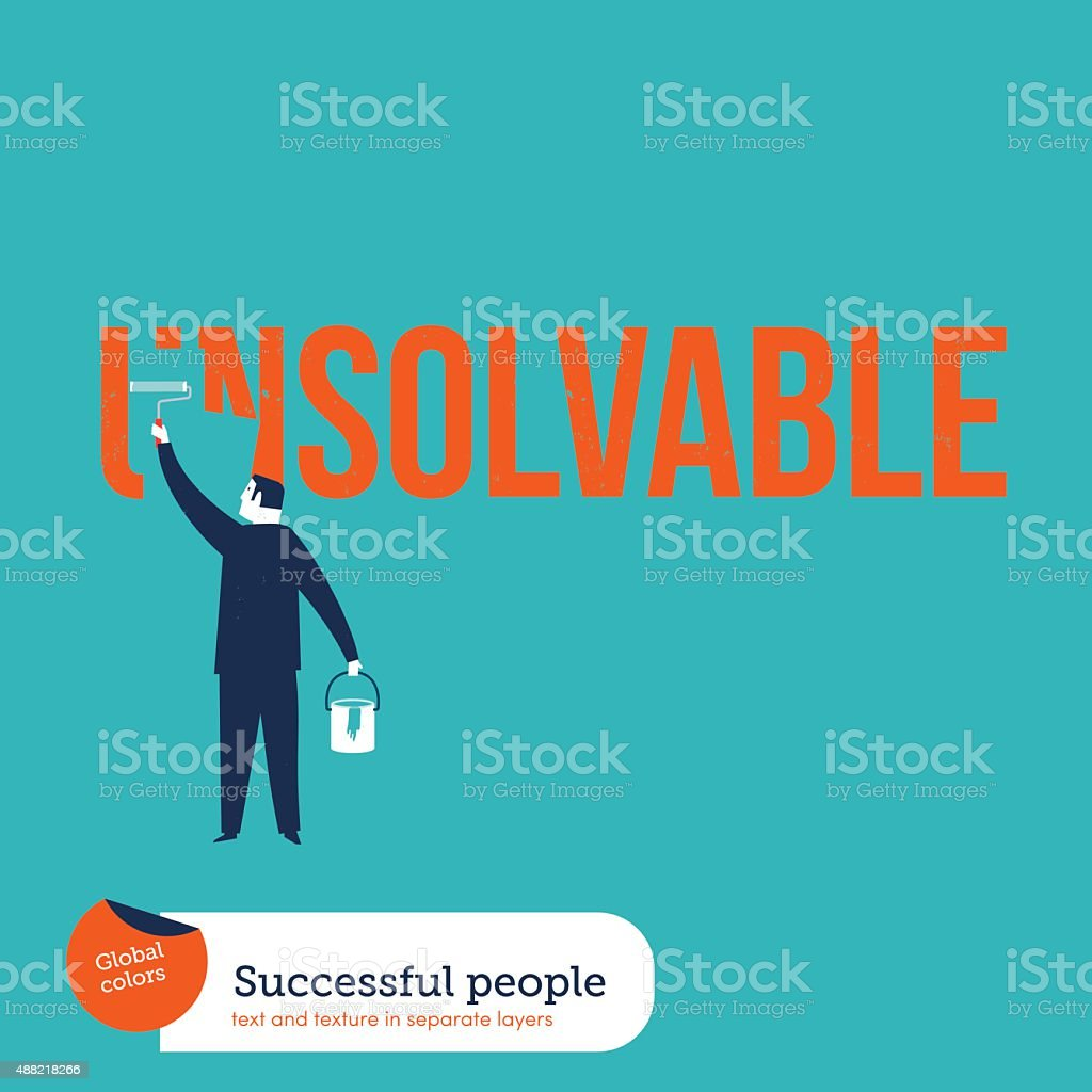Businessman painting the word unsolvable vector art illustration