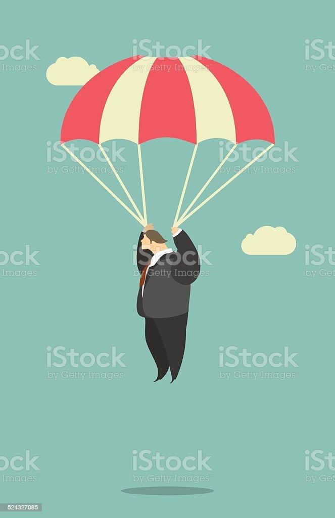 Businessman Parachute Jump vector art illustration