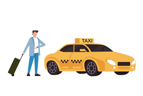 Geschäftsmann Passagier warten Taxi Taxi und überprüfen die Zeit. Verkehrskonzept. Vektor flache Cartoon Grafik-Design isolierte Illustration – Vektorgrafik