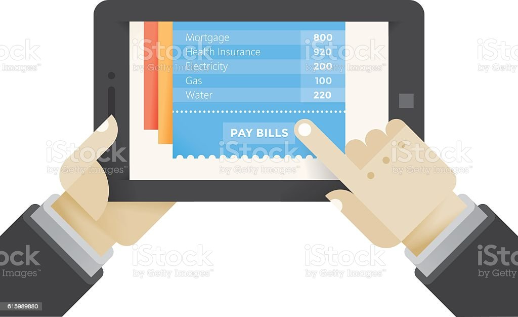 Businessman pay bills online on computer. Mobile tax payments concept. vector art illustration