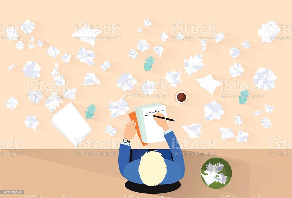 Businessman Pen Write, Crumpled Papers Around, Problem Concept vector art illustration