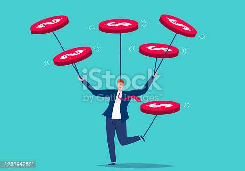 istock Businessman perfect performing acrobatics, business skills concept 1282942521