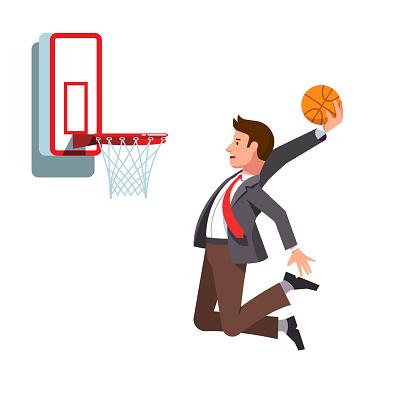 Businessman performing basketball hoop slam dunk. Business man achieving business goals and success. Flat vector clipart illustration.