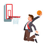 Businessman performing basketball hoop slam dunk. Business man achieving business goals and success. Flat vector clipart illustration.