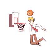 Businessman performing basketball hoop slam dunk