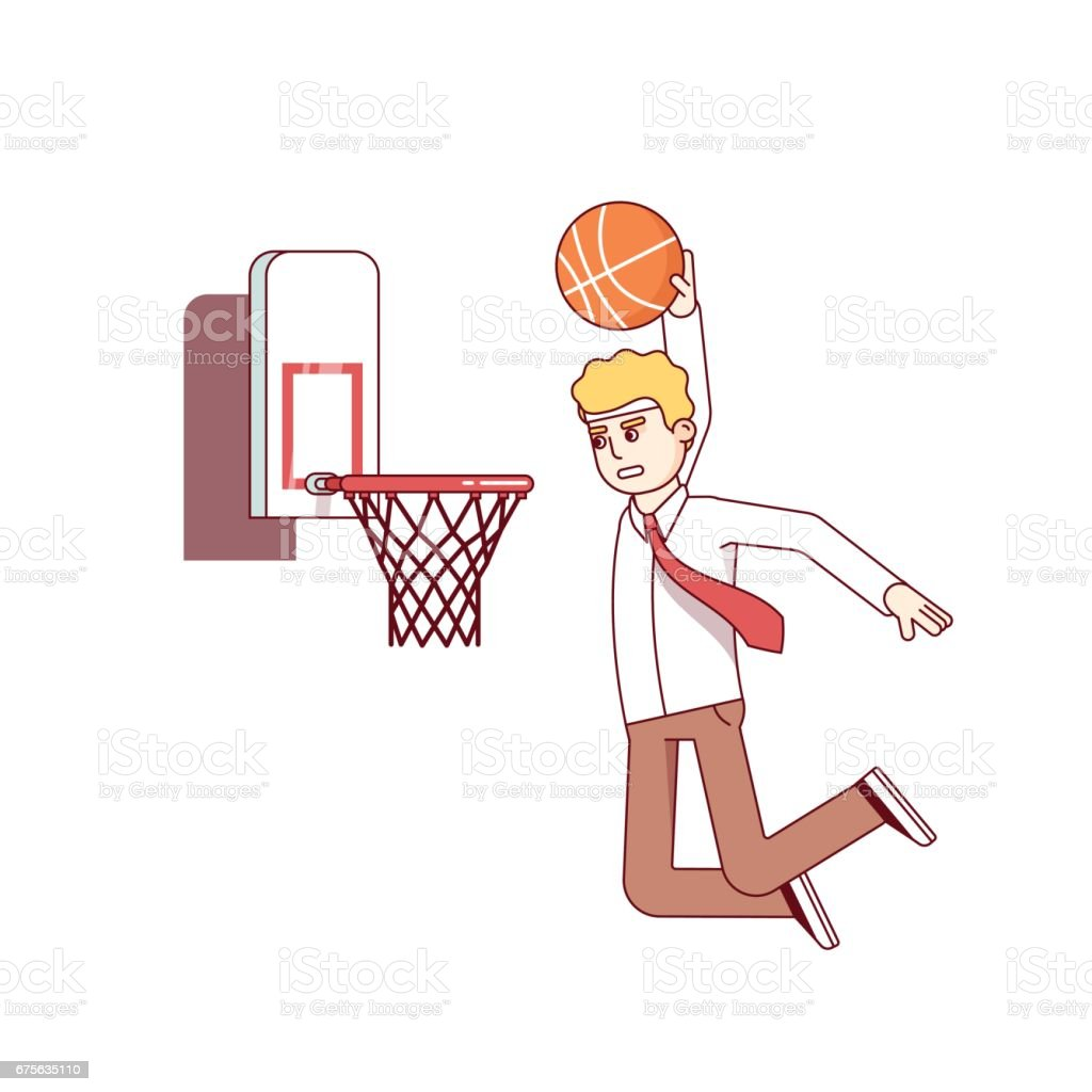Businessman performing basketball hoop slam dunk vector art illustration