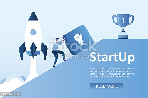 Businessman picks up a button with idea bulb sign,winner cup on top,spaceship take off,startup concept background,place for text,landing page template,trendy style vector illustration