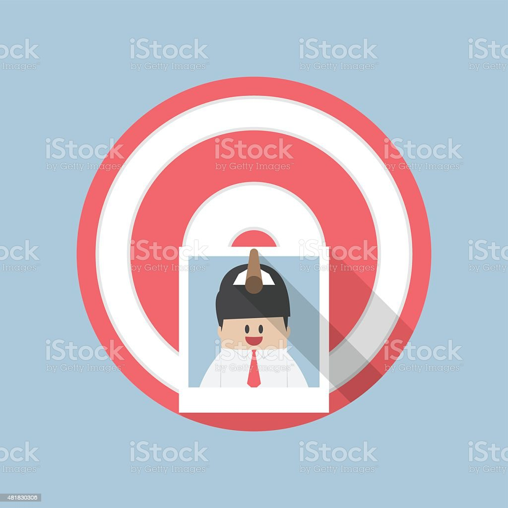 Businessman picture stick on target by arrow, Recruitment, Hiring concept vector art illustration