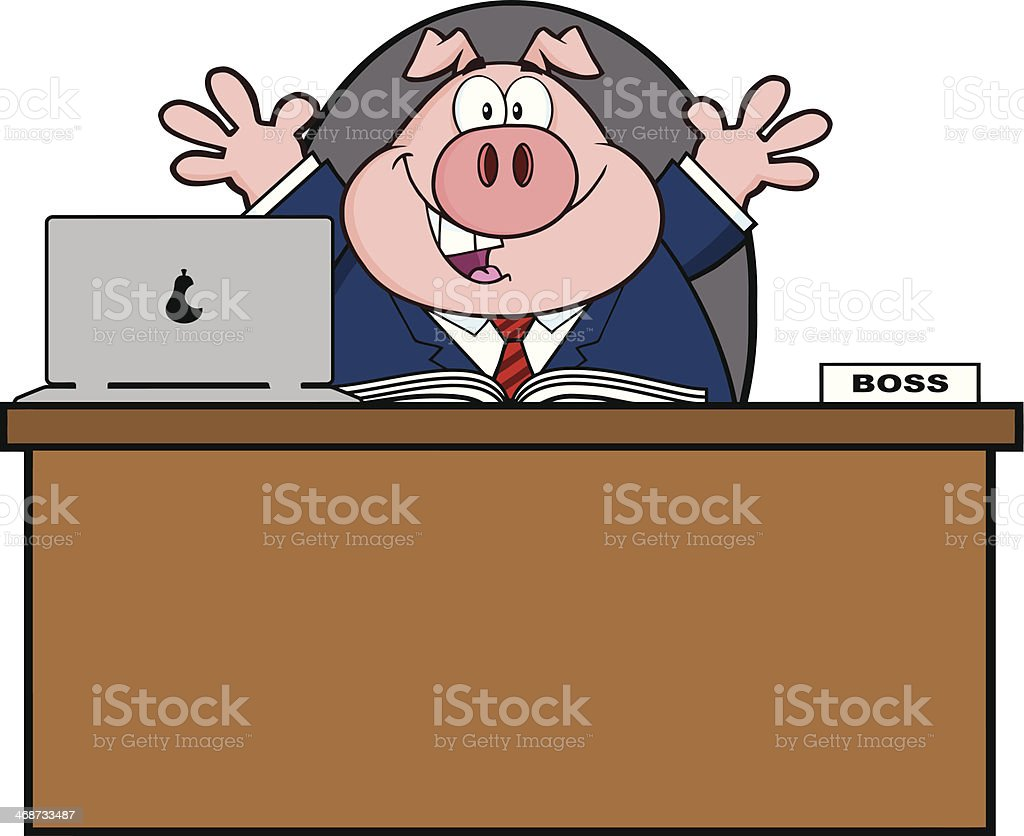Businessman Pig Behind A Desk royalty-free stock vector art