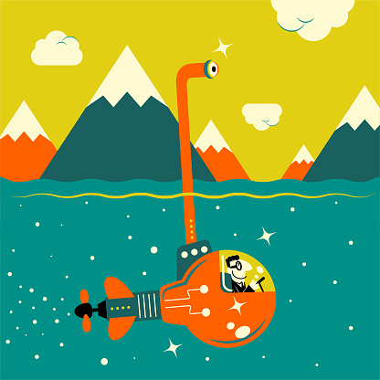 Businessman piloting an idea light bulb submarine in the sea and looking through an periscope