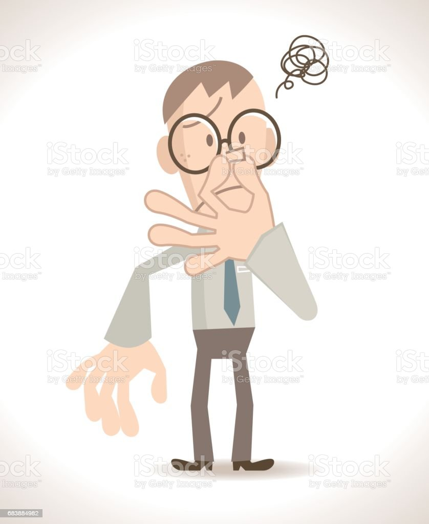 Businessman (man, civil servant, teacher) pinching his nose vector art illustration