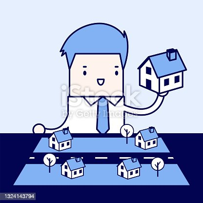 Businessman plan to put his home in empty space. Cartoon character thin line style vector.