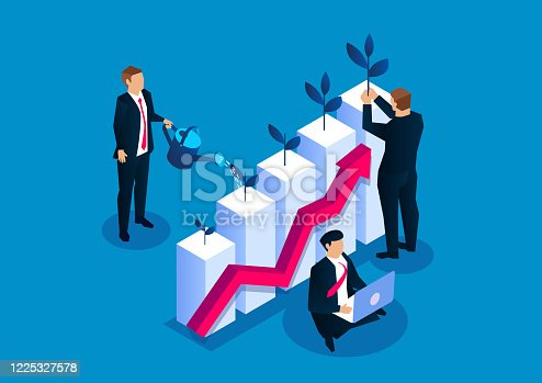 istock Businessman planting small sapling on watering bar chart, business investment income growth, grow your business 1225327578