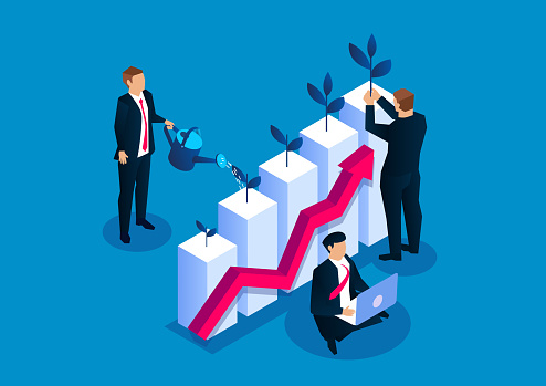 Businessman planting small sapling on watering bar chart, business investment income growth, grow your business