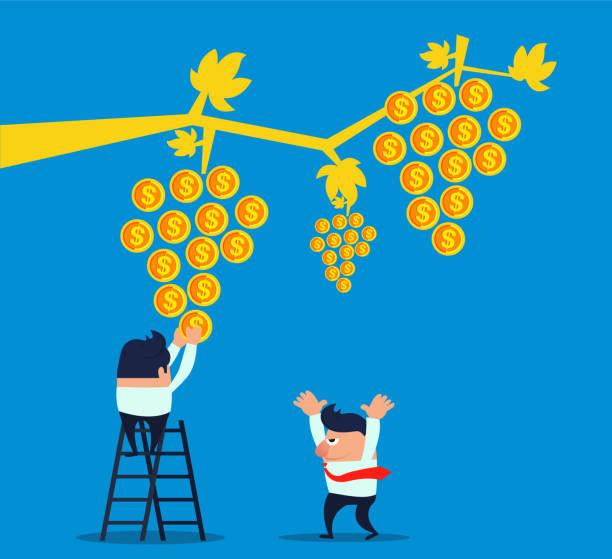 ilustrações de stock, clip art, desenhos animados e ícones de businessman planting vines grows gold coins - picking fruit