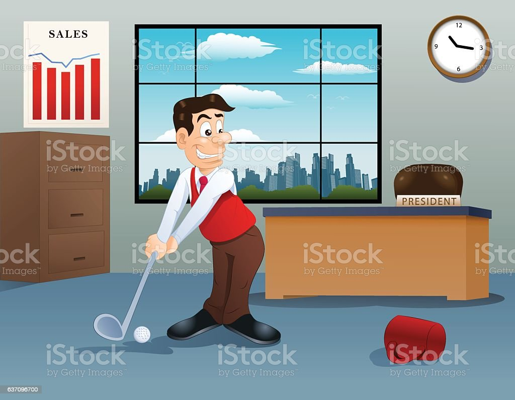 businessman playing golf on office vector art illustration