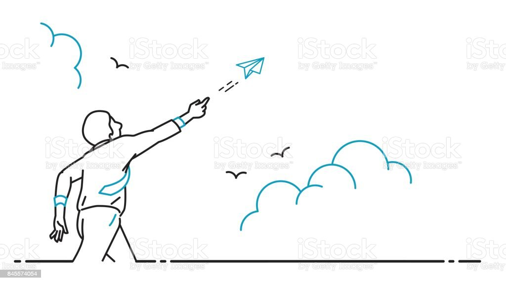 Businessman playing paper origami airplane flying vector art illustration