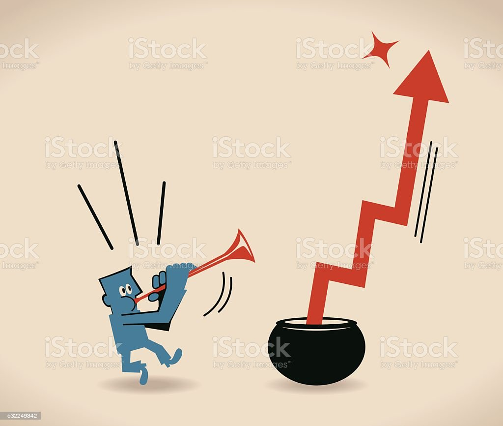 Businessman playing pipe to make arrow move up (upraise, grow) vector art illustration