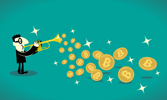 Businessman playing trumpet and a lot of bitcoin cryptocurrency flying out